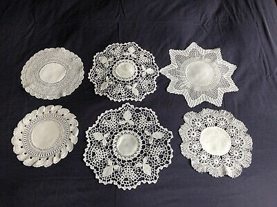 6 Gorgeous Vintage Victorian Irish Linen Damask Doilies Hand Crocheted Edgings