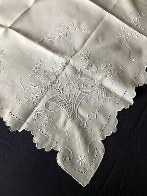 Superb Vintage Madeira White Work Hand Embroidered Square Irish Linen Tablecloth