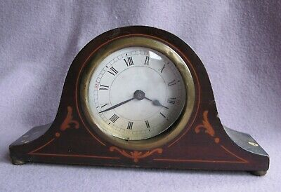 Antique Edwardian Mahogany Inlaid Mantle Clock for Restores