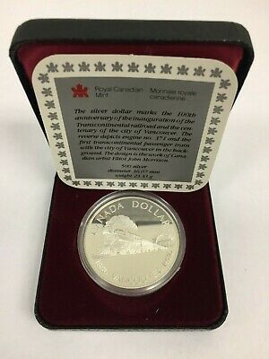 1986 Canada Silver Dollar Proof Bu Coin Vancouver Centenary And Railroad  Rcm
