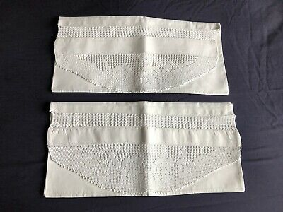 Pair Super Vintage White Irish Linen Housewife Style Pillow Cases Crochet Edging
