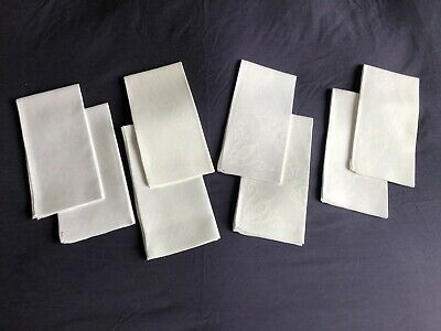 Nice Quality Vintage White Irish Linen Double Damask Set 8 Large Dinner Napkins