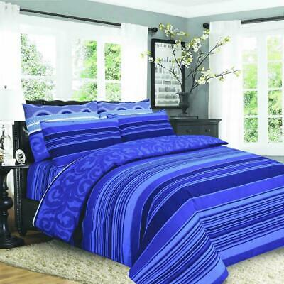 914 Royal Blue King Size Cotton Duvet Cover Set With Pillow Cases & Fitted Sheet