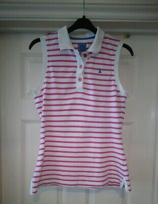 Joules Sleeveless White and Pink Striped Polo Shirt Size 12