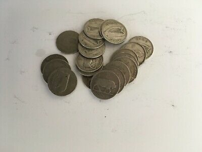 Old Irish coins 20 x pre 1943  Irish shilling (schilling ) all worn