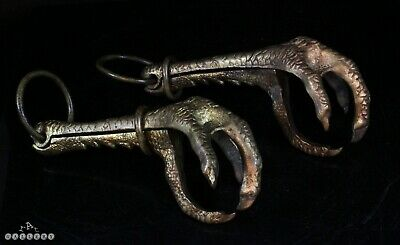 Victorian Gilt Bronze Articulated Eagle Claw Hanging Hooks - Large Lifesize