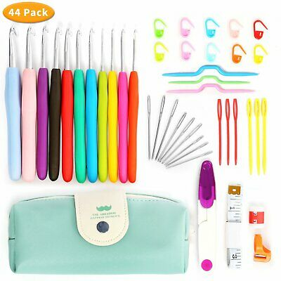 Large 44 Pack Crochet Hooks and Knitting Kit Set with Case & Crochet Accessories