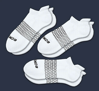 3-Pack Bombas Men's Ankle Socks WHITE Honeycomb Large 7-12 NWT