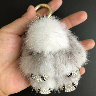 8cm Cute Real Mink Fur Rabbit Bunny W Diamonds Toy Doll Kids Gift Bag Keyring