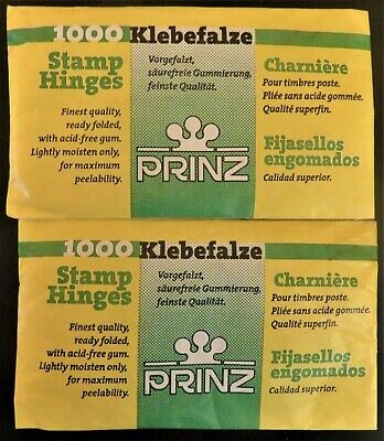 PRINZ 1000 Ready FOLDED STAMP HINGES Finest Quality PEELABLE Acid Free GUM x 2