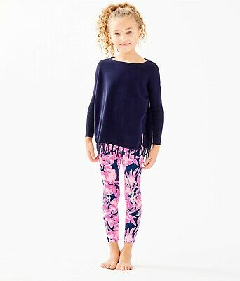 NWT Lilly Pulitzer Girls Maia Legging Inky Navy Flamingle Size L