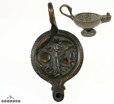 Antique Grand Tour Roman Figural Bronze Oil Lamp