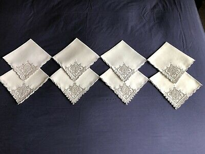 Vintage Cream Linen Madeira Work Hand Embroidered Set 8 Large Dinner Napkins