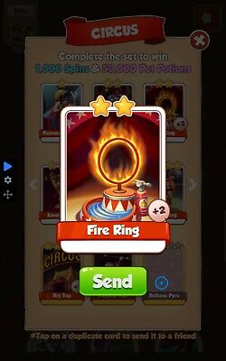 Coin master rare CIRCUS card 5 x fire ring. Fast delivery.
