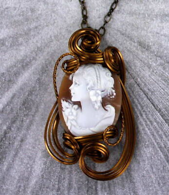 Antique Vintage Cameo Pendant Necklace in  Pure Copper Wire  Wire Wrapped
