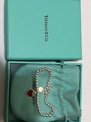 Authentic Return to Tiffany Heart Tag Enamel Bracelet In Red