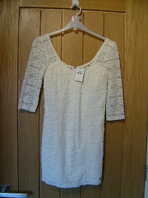 Abercrombie & Fitch Cream Lined Lace Dress Kids Small 9/10yrs NEW RRP $69(Ref L)
