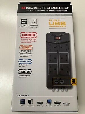 Monster Power Surge Protector 6 Socket With USB Charging/av Protection