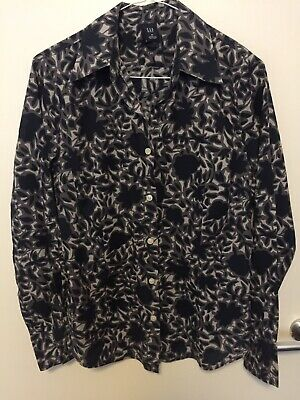Gap Lightweight Fitted Cotton Navy And Grey Patterned Blouse M