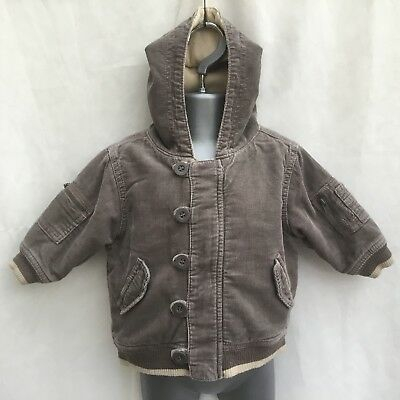 Next Baby Boys Brown Cord Fleece Lined Coat Hooded Jacket - Age 3-6 Months