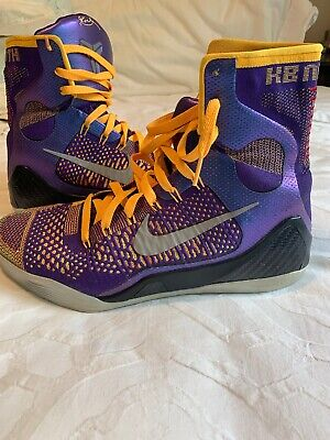 buy popular 5e8d4 8fe9b Nike Kobe IX 9 Elite High Showtime Laker Yellow Purple Size 10.5