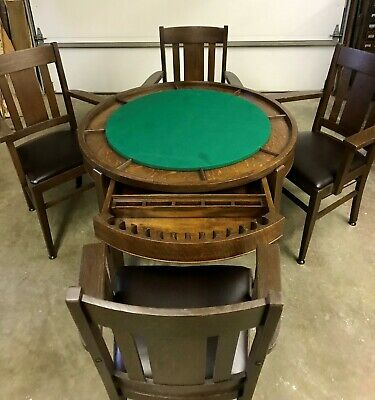 1910 Antique Mission Arts Crafts Poker Table Four Arm Chairs Reversable Top
