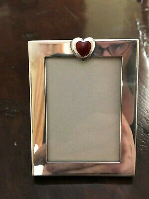 Tiffany & Co Sterling Silver Picture Frame with Red Heart  Made in Italy