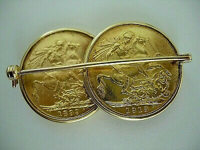 Rare` Double Sovereign Brooch Of Victoria,& George V 1899 & 1913,Both Perth Mint