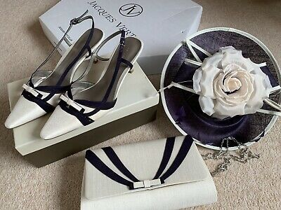 Jaques Vert Shoes 40, Fascinator And Handbag Ivory And Purple