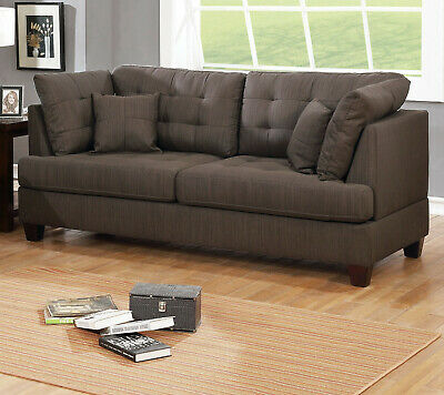 Living Room Furniture Black Coffee Sofa Loveseat Tufted couch Pillows Polyfiber