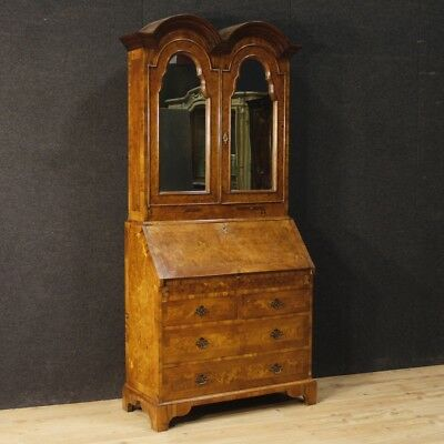 Trumeau english furniture secretary desk chest of drawers antique wood mirror