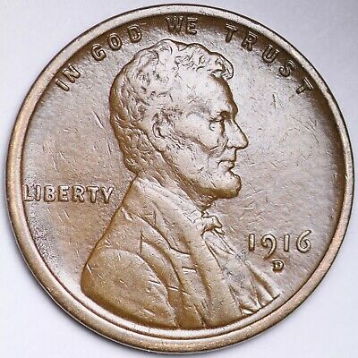 *1916-D*   Lincoln Wheat Cent  free shipping