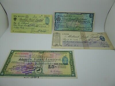 Vintage Travellers Cheques & Vintage Barclays Market Drayton Cheques job lot..