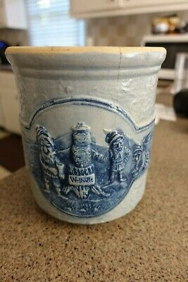 Small Raised Pattern Wellsville OH Gnomes Crock Huge Cobalt Blue Cracked