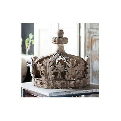 Giant Architectural Wooden Aged Royal Prince Princess Crown Teester Antique