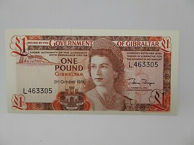 Vintage Gibraltar One Pound Bank note dated 1986..crisp clean condition..