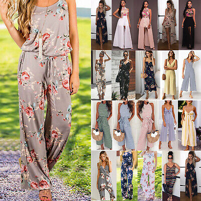 Plus Size Boho Women's Floral Holiday Summer Playsuits Dress Trousers Jumpsuit