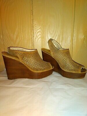 e707e5922d Coach Chasity Womens 10B Brown Perforated Suede Peep Toe Clogs Wedges Shoes