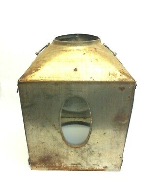 Used Lantern Body Cage Shell Light Iron Housing Décor DIY with Glass Window