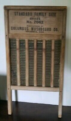"Antique Columbus Co. Washboard No 2062 The Brass Maid Rite USA 23"" 12"""