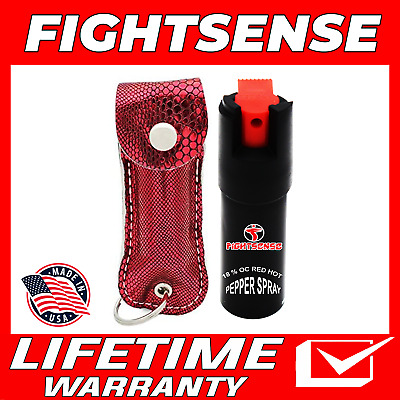 Police Pepper Spray Maximum Strength Leather Case Self Defense Security Snack R