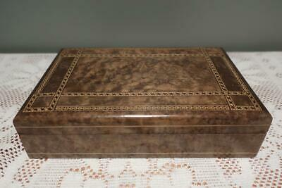 Vintage Small Wooden Trinket Box - Tunbridge Style Banding - Collectable - Gc