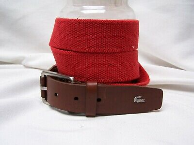 LACOSTE MENS SZ XL stretch BELT Red with Leather Silver Tone Buckle VTG