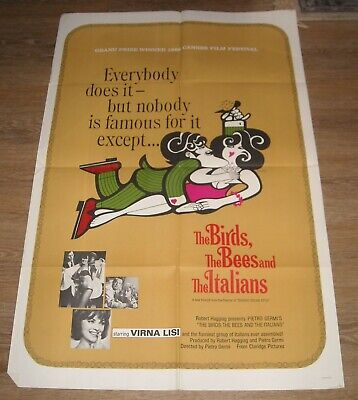 1960's The BIRDS, the BEES & the ITALIANS 1 SHEET MOVIE POSTER VIRNA LISI COMEDY
