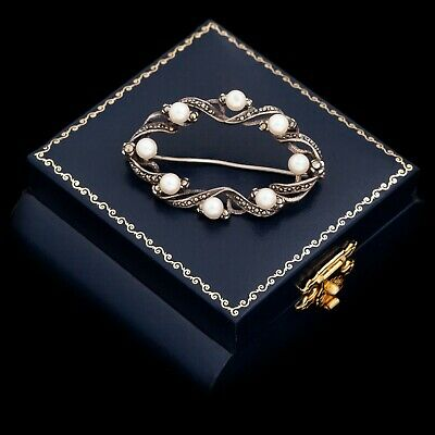 Antique Vintage Deco Sterling Silver Cultured Pearl Marcasite Womens Pin Brooch