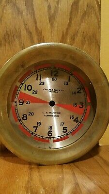 Chelsea Steamship U. S. Maritime Ships clock  radio room dial and brass case