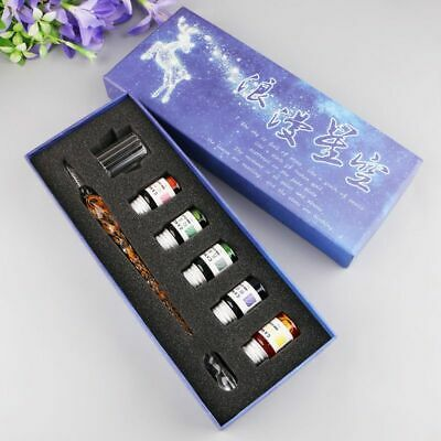 8PCS/SET Spiral Burr Glass Pen Dip Writing Ink Crystal Signature Pens Set Gifts