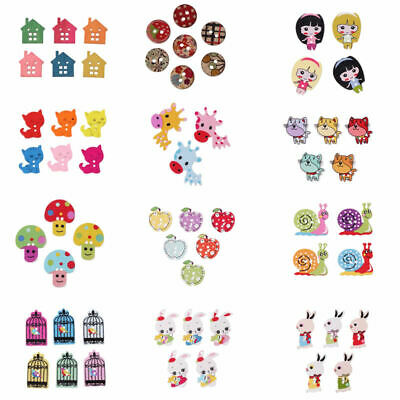 50pcs Mixed Painted Wooden Buttons For Swing Scrapbooking DIY Decorative Crafts