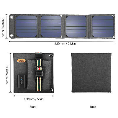 Portable 14W Solar Panel Power Bank External Battery Charger 5V USB 40000 Lux US