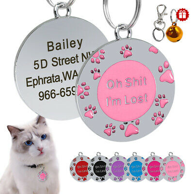 Anti Lost Round Paw Print Dog ID Tags Personalised Kitten Puppy Pet Cat Dog Tag